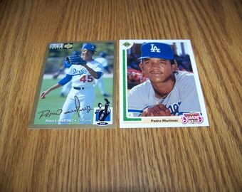 2 Vintage Pedro Martinez (Los Angeles Dodgers) Rookie and Insert Cards