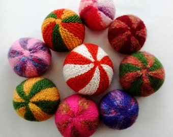 Soft knitted Ball with a bell, hand knitted in pure wool