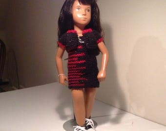 "Night on the town, black and scarlet dres, bolero and chain necklace for Sasha, and other 16"", 17"" 18"" slim dolls"