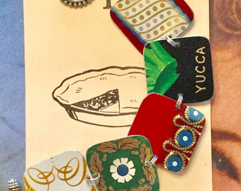 Vintage tin bracelet; tin bracelet; cookie ton bracelet; upcycled recipe tin; unique jewelry