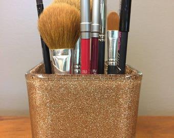 "4"" Glitter Makeup Brush Holder, Gold, Glitter, Square Vase, Libbey, Makeup Brushes, Sealed Glitter, Teal Glitter,  Gifts under 20"
