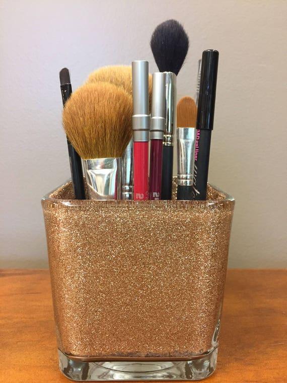 4 Glitter Makeup Brush Holder Gold Glitter Vase