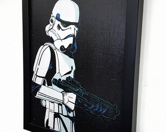 Stormtrooper -_- Framed -_-  Wall Art Giclee Canvas Paint Star Wars Inspired