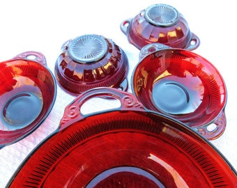7 pc SET ANCHOR HOCKING  Ruby Red Glass Bowls  1 Serving 6 Berry Bowls Saxon Banded Rib Indiana Glass  Vintage Tableware