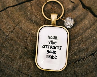 FREE SHIPPING - Your Vibe Attracts Your Tribe Rectangle - Quote Necklace - Jewerly - Inspiration ...