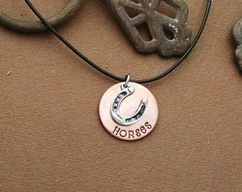 """Horse Necklace, """"HORSES"""" Copper Pendant"""