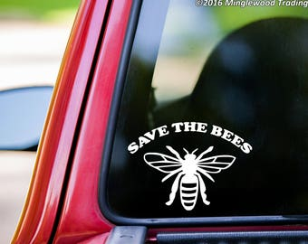 """SAVE THE BEES Vinyl Decal Sticker 7"""" x 5"""" Pollinators Beehive Flowers *Free Shipping*"""