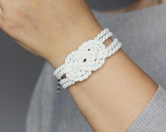 White Cord Bracelet Knot Bracelet Rope Bracelet Sailor Knot Love Knot Rope Knot Bracelet Nautical bracelet Knot Nautical Knot Nautical NT