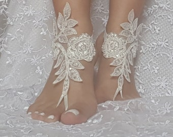 Beach wedding shoes etsy free ship ivory barefoot sandals french lace nude shoes gothic wedding sandals beaded pearl beach wedding junglespirit Images