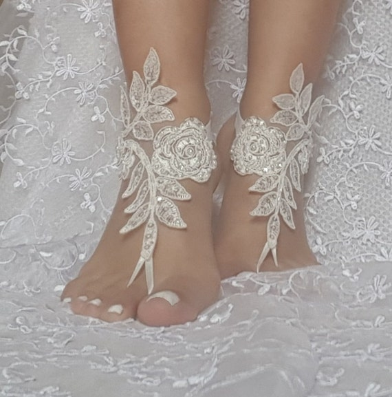 Free ship ivory Barefoot Sandals french lace Nude shoes Gothic wedding sandals beaded pearl beach wedding shoe bridal shoes