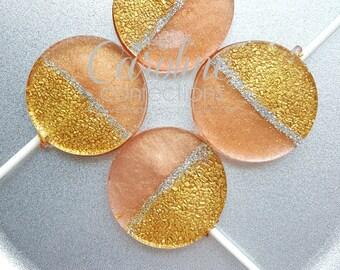Rose Gold, Gold and Silver Sparkle Lollipops, Gold Candy, Wedding Favors, Lollipop Favors, Sweet Caroline Confections-Set of Six