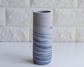 Marbled Vase, Marbleized Vase, Bud Vase, Ceramic Bud Vase, Modern Vase, Gift, DIY, Flower vase, pottery vase, handmade, cylinder vase, V48