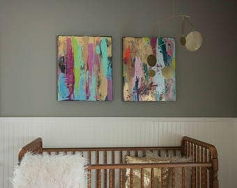 abstract unicorn painting, rainbow, hot pink and gold, black and pink, nursery painting, aqua, neon green,