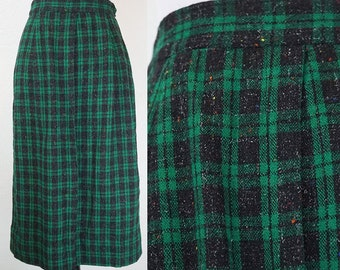 1950s Green Plaid Woven Wool Pencil Skirt XS/S