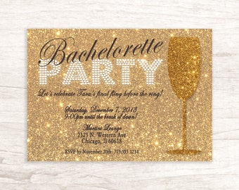 Glitter Gold Bachelorette Party Invitation
