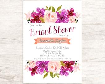 Pretty Floral Bridal Shower Invitation