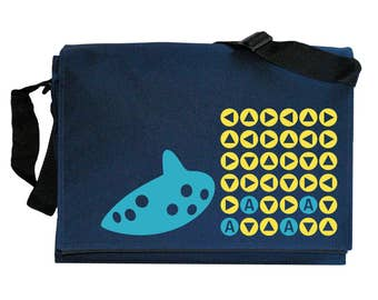 Ocarina Songs Zelda inspired Navy Blue Messenger Shoulder Bag