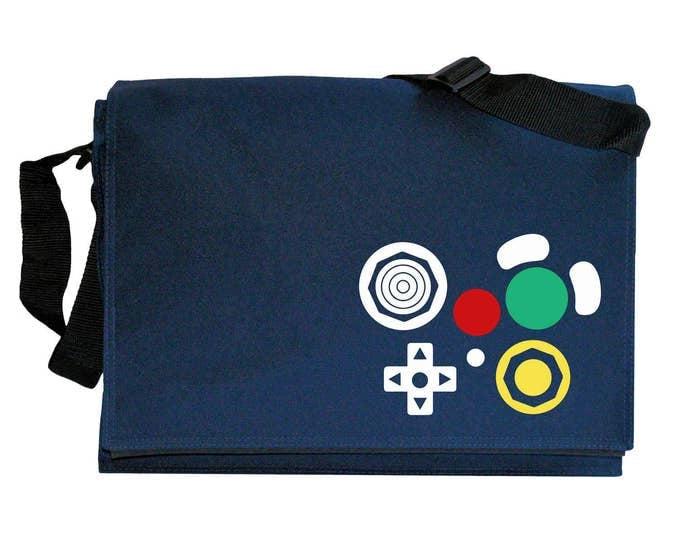 Gamecube Joypad Controller Buttons Navy Blue Messenger Shoulder Bag