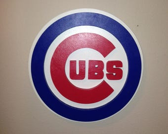 "Chicago Cubs 18"" 3D Wooden Logo"