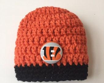 Cincinnati Bengals baby hat, Bengals baby shower gift, crocheted baby hat, Bengals baby