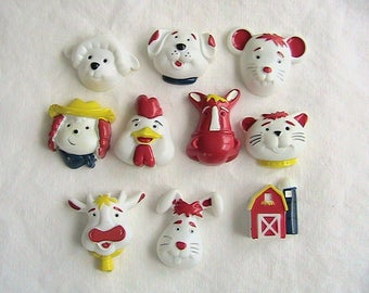 Magnets, 3D Farm Animal Magnets, Cute set of 10, Vintage Magnets