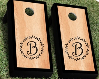 Monogram Wedding Wreath Cornhole Decal | Set of 2 | Rustic Calligraphy | Bride Groom CornHole Sticker | Personalized Wedding Decal