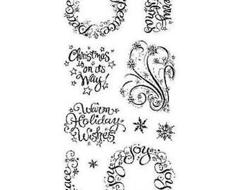 Inkadinkado WARM HOLIDAY WISHES Wreath Peace Christmas is On its Way Clear Acrylic Stamp set cc02