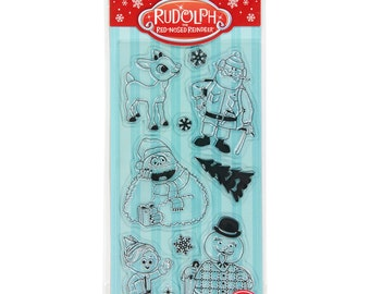 RUDOLPH The Red Nosed Reindeer Yukon Cornelius Abominable Snowman Hermie the elf Christmas Clear Acrylic Stamp set by Inkadinkado cc05