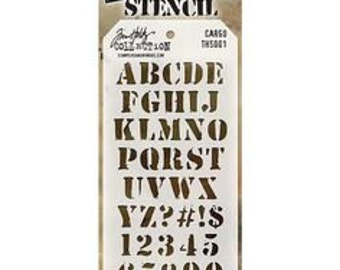 Tim Holtz Stencil - ALPHA CARGO Stencil Stampers anonymous Ths001 - cc5x SS050