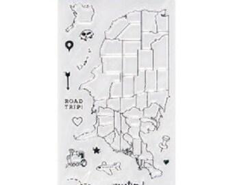 "Fiskars 4"" x 8"" Clear Stamp Set - WANDERLUST US Map stamp set  1.cc21"