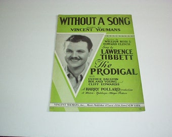 1929 WITHOUT A SONG Sheet Music Booklet (Inset Photo Lawrence TIBBETT on Cover in The Prodigal) Vincent Youmans/William Rose/Edward Eliscu+