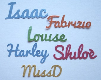 Personalised Name Confetti - Script Name - 70 pieces - 39 colours - Custom made with name of your choice