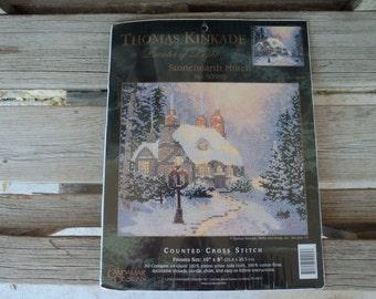 "Thomas Kinkade Counted Cross Stitch Kit No. 50995 ""Stonehearth Hutch"""