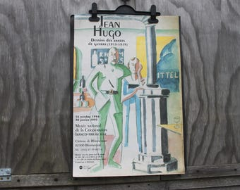 French art exhibition poster, Jean Hugo, Musee National de la Cooperation Franco-Americaine, 1990s WWI