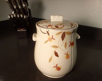 Vintage Halls Superior Kitchenware Jewel Tea Autumn Leaf Cookie Jar