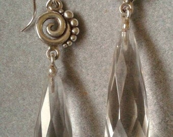 Long Sterling Silver Spiral Clear Crystal Quartz Dangle Earrings