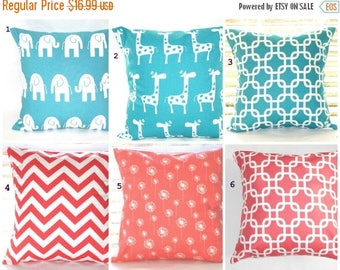 CLEARANCE Pillow Cover, Coral Pillows, Turquoise Pillows, Decorative Throw Pillow, Throw Pillows, Beach Decor, Baby, Nursery, Shower,  1- 18