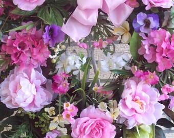 Hydrangea Wreath, Spring Wreath, Rose  Wreath, Peony Wreath, Summer Wreath, Door Wreath, Wall Wreath, Home Decor