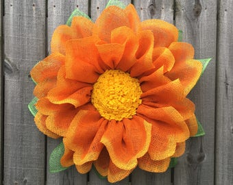 Burlap Wreath, Marigold Wreath, Dahlia, Front Door Wreath, Spring Wreath, Summer Wreath, Flower Wreath, Handmade Wreath, Flower Decor