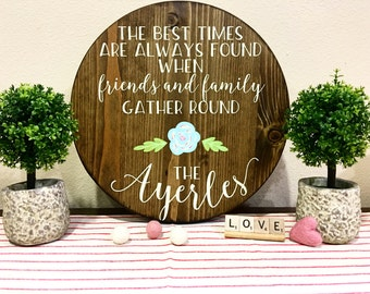 Last Name / Floral Round / Gather Near Sign / Name Customizable Sign