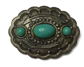 Art Deco Silver Pot Metal, Faux Turquoise Southwestern Brooch, C Clasp