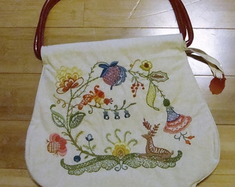 Hand embroidered Crewel Purse