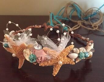 Xo bouquet headband seashell flowers crown grapevine