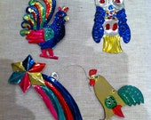4 Mexican Tin Christmas Decorations - ref 5
