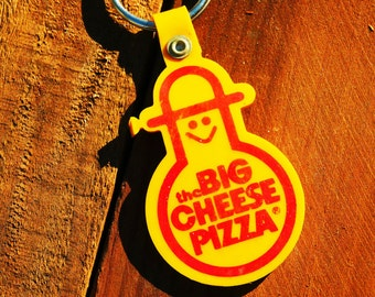 Vintage 80s The Big Cheese Pizza Parlor Keychain
