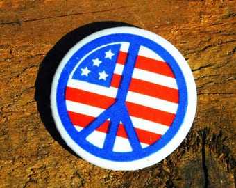 Vintage 60s Easy Rider Peace Sign Hippie Original Pinback Button