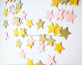 Twinkle Twinkle Little Star, First birthday, Girl Baby Shower decorations, Star garland, Pink gold star garland, Paper garland, KES-7007, Xa