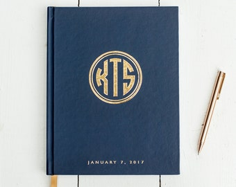 Wedding Guest Book with Real Gold Foil guestbook custom guest book wedding photo album navy and gold wedding photo guest book sign in book