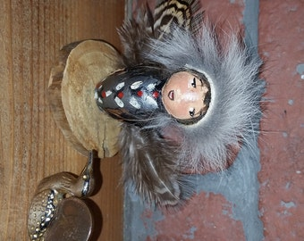Little angel Guide Native American, Protection and spirituality native made and hand painted. Medicine and Animal Totem the rabbit fur