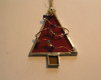 2 Stained Glass Christmas Trees, Christmas Decor, Tree Ornaments